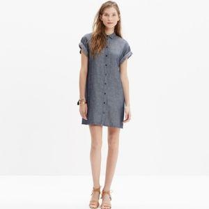Madewell Chambray Tunic Shirt Dress- Linen Blend